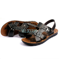 New 2014 High Quality Fashion Designer Brand Genuine Leather Men's Sandals, Mens Summer Buckle Beach Sandals Shoes size 38-44
