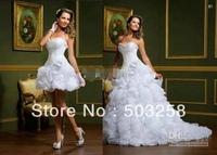 DH34 2014 Fashion Custom Made Two Pieces Wedding Dress A-line Organza Detachable Bridal Gowns