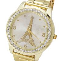 2014 High Quality Gold Plated Tower Design Women's Fashion Clothing Rhinestone Have Quartz Watch