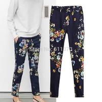 2014 New Autumn &Winter Women Dark Bule Flower Pants Women Strenchable Pencil Trousers Europe Trendy Brand Jeans Pants