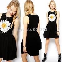 2014 New Vintage Fashion Womens Daisy Flower Print Sleeveless Vest Short Dress Ladies Summer Above Knee Sundress Prom Clothing L