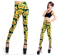 P338  New 2014 Vintage Yellow Sunflowers Pattern Print Fashion Women's Leggings Skinny Pants Spring Autumn