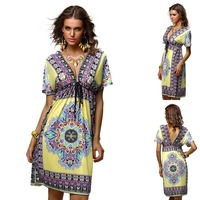 Fashion Retro 1960s 1970s Vintage Paisley Print V Neck Hippie Bohemian Summer Dress Women Beach Dress HS-4-58