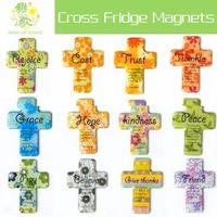Cross Fridge Magnets. Christian Gifts. Cross. Peace Grace Pray Trust Hope Believe Friend Cost Magnetic Rubber Crystal Epoxy