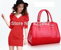 2014 New Hot Sales Fashion Women's CROCO Patent Leather Handbag Female Elegant PU Messenger Bag Lady Shoulder Bag Sling Bag