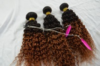 Kinky curly Brazilian ombre hair weaves,unprocessed wholesale 100% brazilian virgin hair
