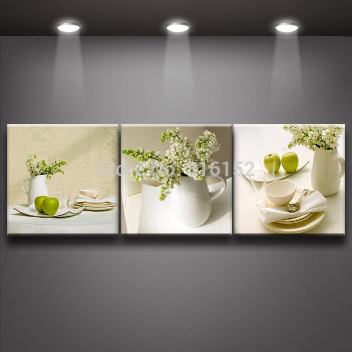 Acheter frais blanc vaisselle peinture sur toile pour h tel restaurant caf ou - Decoratie murale pour cuisine ...