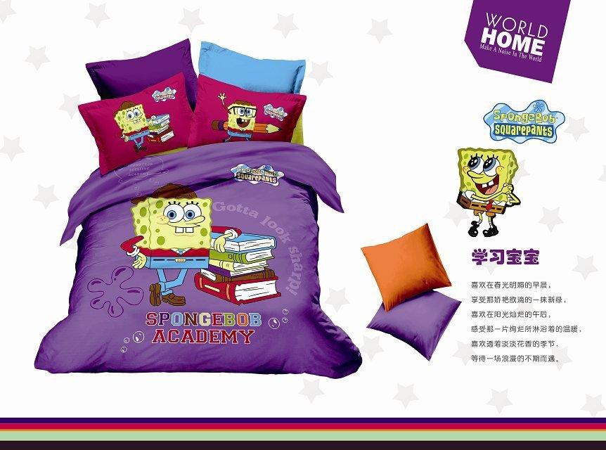 hot sale Cartoon Spongebob squarepants pattern,100%cotton bedding set 4pcs queen size,duvet cover/bed sheet/bed cover/comforter(China (Mainland))