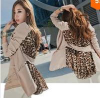 Hot New Fashion Woman OL Casual Chiffon Suit Jacket Sexy Blazer Women Leopard Lapel Pocket Coat Jacket Slim Outerwear WC681