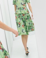 New 2014 Spring Summer Autumn Women Skirt Skirts  Floral Pattern Printed Pleated Free Shipping xhf