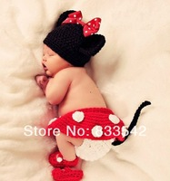 KIDS Handmade prince newborn infant baby boy Girl Animal Mickey Mouse Beanie cap photography Cloth props knitted hat Cashmere