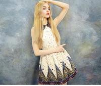 2014 New Dress Summer Women Dress Vestidos Vintage Style Cotton Print Style Womens Summer Dress Free Shipping GE532