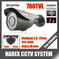 700TVL Sony Effio-e 960H 42pcs IR LEDS varifocal lens 2.8-12mm outdoor/indoor waterproof Security CCTV Camera, free shipping
