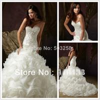 DCD133 Fashion Ruffles Sweetheart Strapless Zipper Organza Mermaid Lace Wedding Dresses