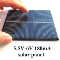 5.5V 6V 180mA 1W Mini Solar Panels Small Mini Solar Power 3.6V Battery Charge Solar Led Light Solar Cell 10pcs/lot Free shipping