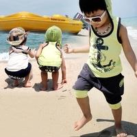 New T shirt + Harem Shorts sleeveless Summer Leisure Boys Sets suit Children' clothing Kids Sets