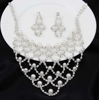 Trendy Silver Handcrafted White Faux Pearl Crystal Rhinestone Necklace+Earrings