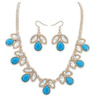 Wholesale geometric imitation gem flower pendants alloy short necklace & earrings set for women 2014 jewelry sets Free shipping