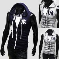 Men hooded fashion, slim fit knitted vest men's short sleeved sweater vest free shipping
