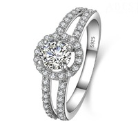 Diamonique Jewelry Women's 925 Silver Filled Round White Sapphire Crystal Stone Pave Set Wedding Ring