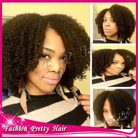 "Short human hair Afro Kinky curly lace front wigs for black women middle part 12""-20"" Glueless virgin Malaysian wigFREE SHIPPING"