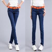 #3360 New 2014 fashion high quality women lady girls denim jeans high elastic preppy style blue slim pencil pants
