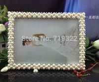 "zinc alloy frames inlaid pearls&diamonds size 8"" rectangular  wedding photo frame bridal gifts 9012#"