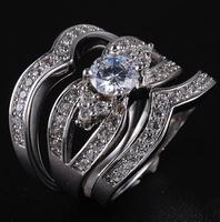 Saprkling Women's Jewelry 925 Silver Filled White Sapphire Crystal Stone CZ Pave Set Wedding Triple Ring Set