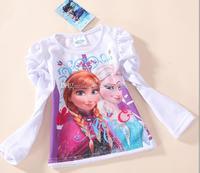 Wholesale - 2014 new arrival autumn girls clothing brand frozen children long sleeve T-shirt kids lovely white tops cotton tunic