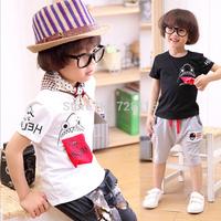(5 pieces/lot) Children girls boys shark eldest brother T-shirt with short sleeves  boy's short sleeve T-shirt shark