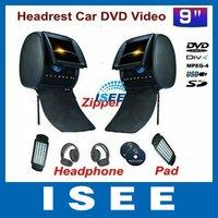 9 inch Headrest Car DVD with Zipper +IR Wirelss Headphone 32bit Game+IR+USB+SD+FM Function CAR Video Player
