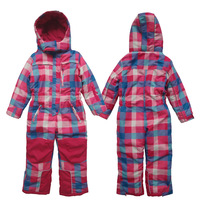 New 2014 Retail Good quality winter set children windproof clothing kid snow suit outdoor wear girl's plaid waterproof set 4size