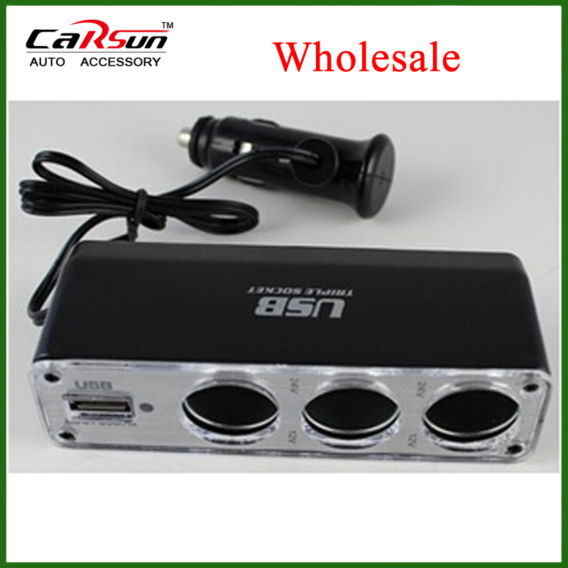 100pieces/lot 12V/24V Two Colors 3 Way Car Cigarette Charger Socket Adapter+USB WF-0096(China (Mainland))