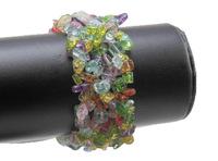 mix color crystal gem stone chip beaded bracelet bangle stretch WBB040