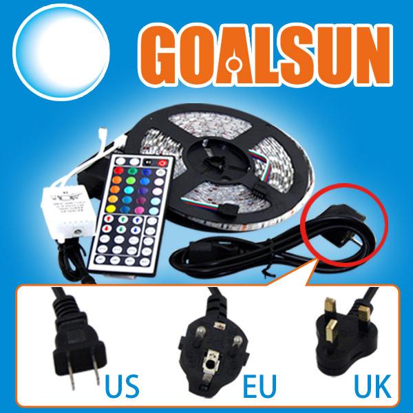 Impermeabile 5m rgb 5050 smd300 ha condotto le strisce di luce e 44 ir chiave telecomando e 5 bis alimentazione 12v noi/EU/it/au