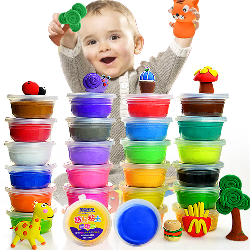 Set of 24 Colors Soft Effect Polymer Colored Clay playdough Plasticine kids DIY Modelling Craft Art Toys(China (Mainland))