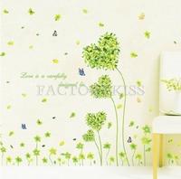 Free Shipping Removable Romantic Heart Shape Green Grass Wall Sticker Art Decal Home Decor [4007-696]