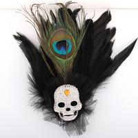 Fashion large rhinestone punk skull peacock feather corsage brooch all-match fur formal dress clothing