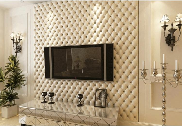Wandbekleding Voor Slaapkamer : 3D Leather Wall Paper