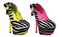 FREE SHIPPING 2013 spring and autumn zebra print ultra high heels bow women's stiletto shoes neon color block decoration shoes
