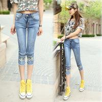 #7202 New 2014 fashion high quality women lady girls denim jeans appliques slim blue capris pants