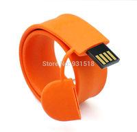 New Arrival Silicon Slap Wristband USB flash pen drive 4GB 8GB 16GB slap bracelet USB disk  toy USB stick  100pcs/lot