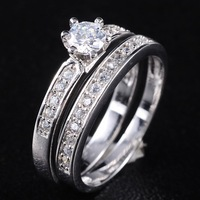 Classic Jewelry Women's Jewelry 925 Silver Filled White Sapphire Crystal Stone Wedding Couple Ring Set