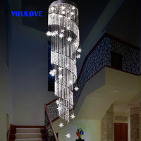 Free Shipping LED modern crystal long star pendant lights dining room parlor hall foyer lobby restaurant stair pendant lamps