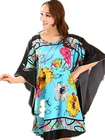 Free Shipping Wholesale artificial silk pajamas spring and summer short-sleeved Female Sexy Lingerie tracksuit  large size