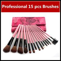 Wholesale New 15 pcs Makeup Brush Soft Nylon Cosmetic Brushes Kit & Set Make Up Tools & Pink Snake Case, Dropshiping