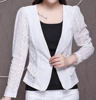 Summer Women Fashion OL Lace Blazer Trend All match Elegant Celebrity Casual Work Wear 2014  Temparment Ladies Coat