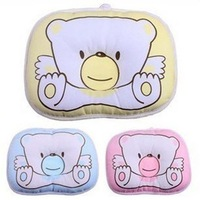 New 2014 Baby Pillow Newborn Infant Bedding Cama Print Bear Oval Shape 3 Color 100% Cotton Baby Shaping Pillow Free Shipping