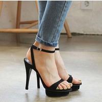 2014 summer genuine leather open toe female thin heels high-heeled sandals sheepskin platform belt 33 small yards
