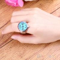 Creative Women Fashion Lady Girl Steel Round Elastic Quartz Finger Ring with-watch 05MA